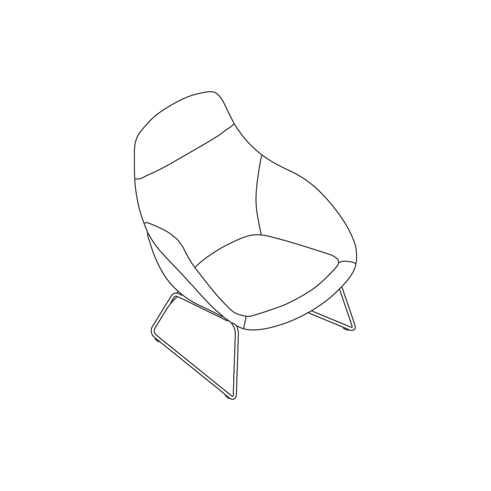 A line drawing of Always Lounge Chair–Sled Base.