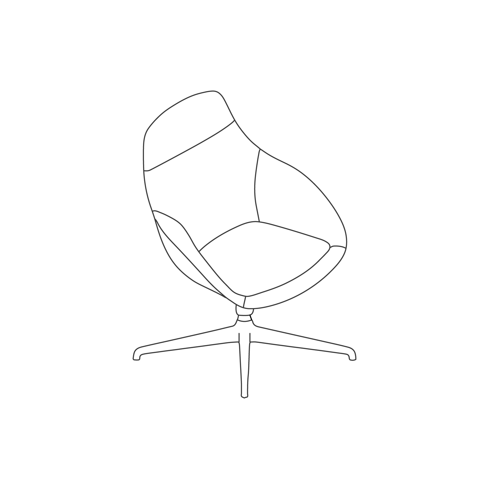 A line drawing of Always Lounge Chair–Swivel Base.