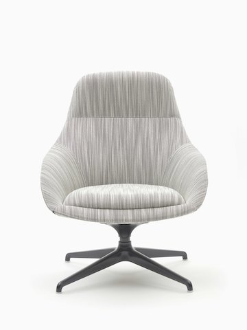 A naughtone Always Lounge Chair with gray upholstery and a black 4-star swivel base, viewed from the front.