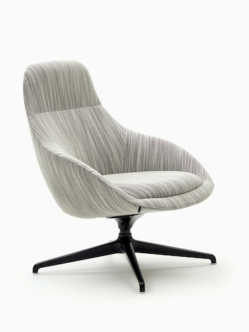 A naughtone Always Lounge Chair with gray upholstery and a black 4-star swivel base, viewed at an angle.