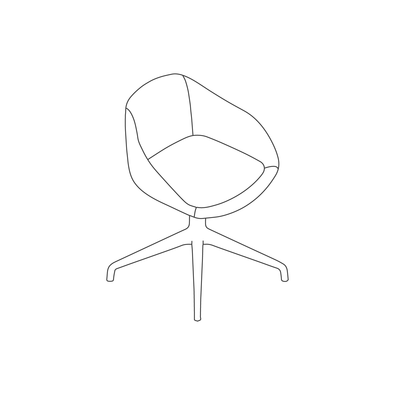 A line drawing of Always Side Chair–4-Star Swivel Base.
