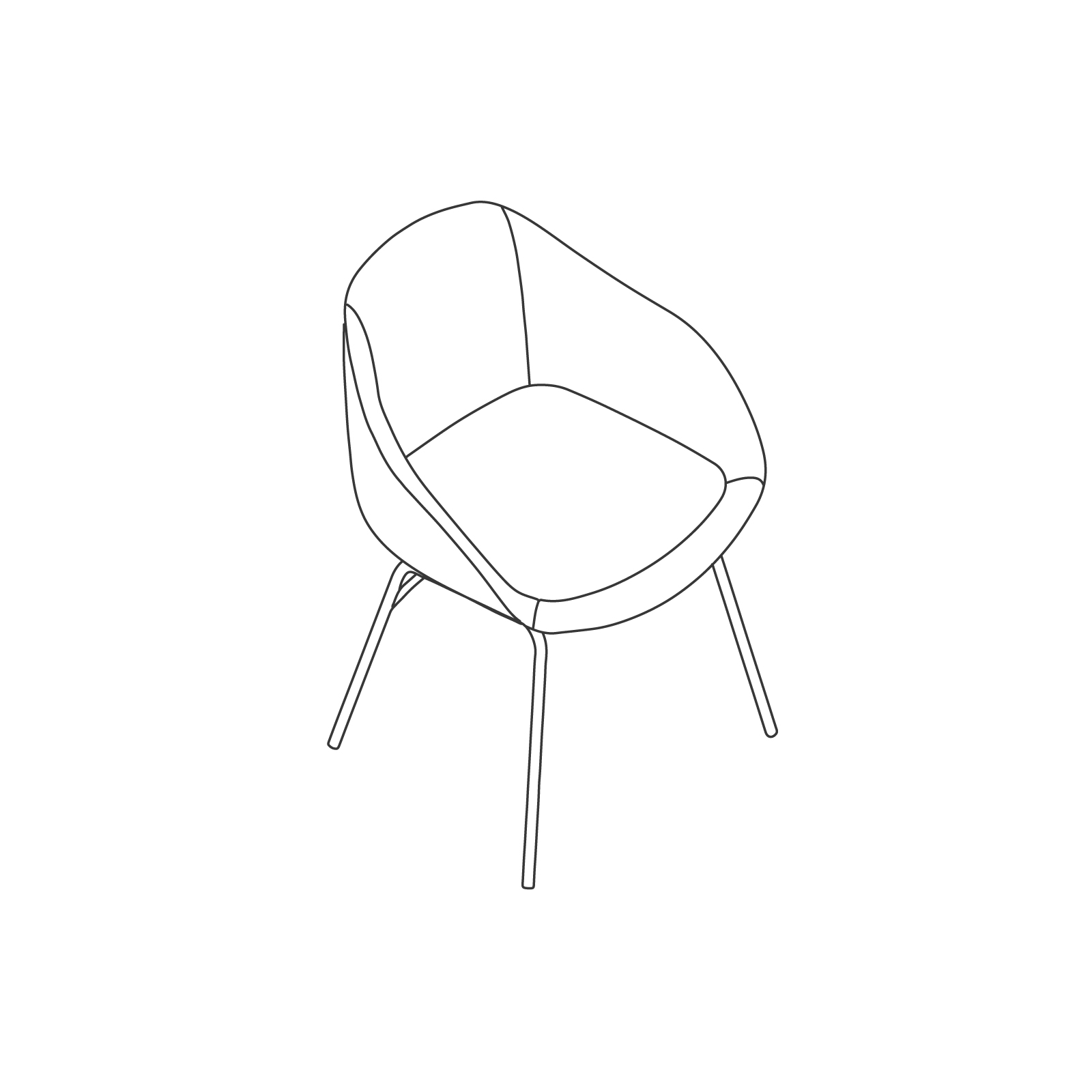 A line drawing of Always Side Chair–4-Leg Base.