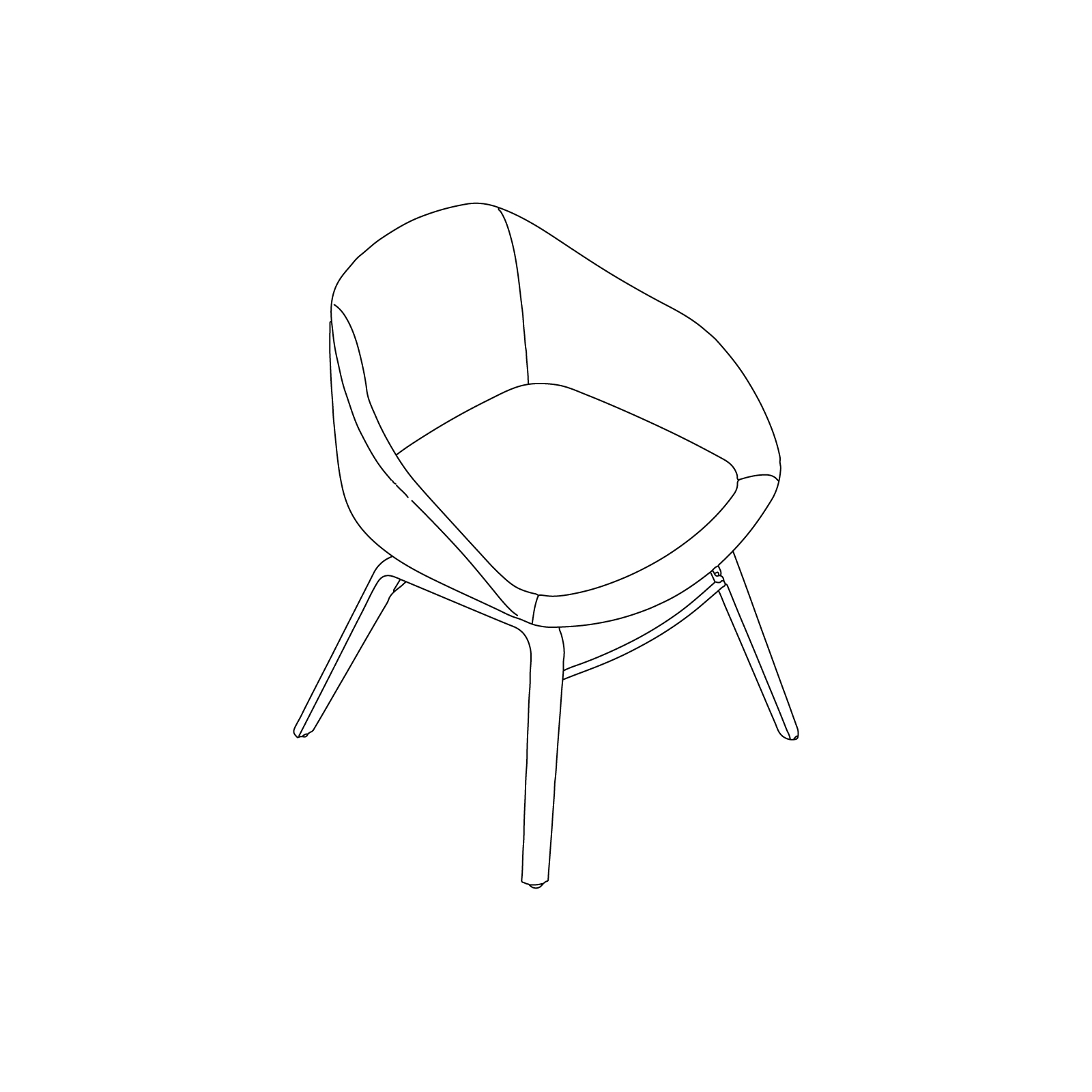 A line drawing of Always Side Chair–Plywood Base.