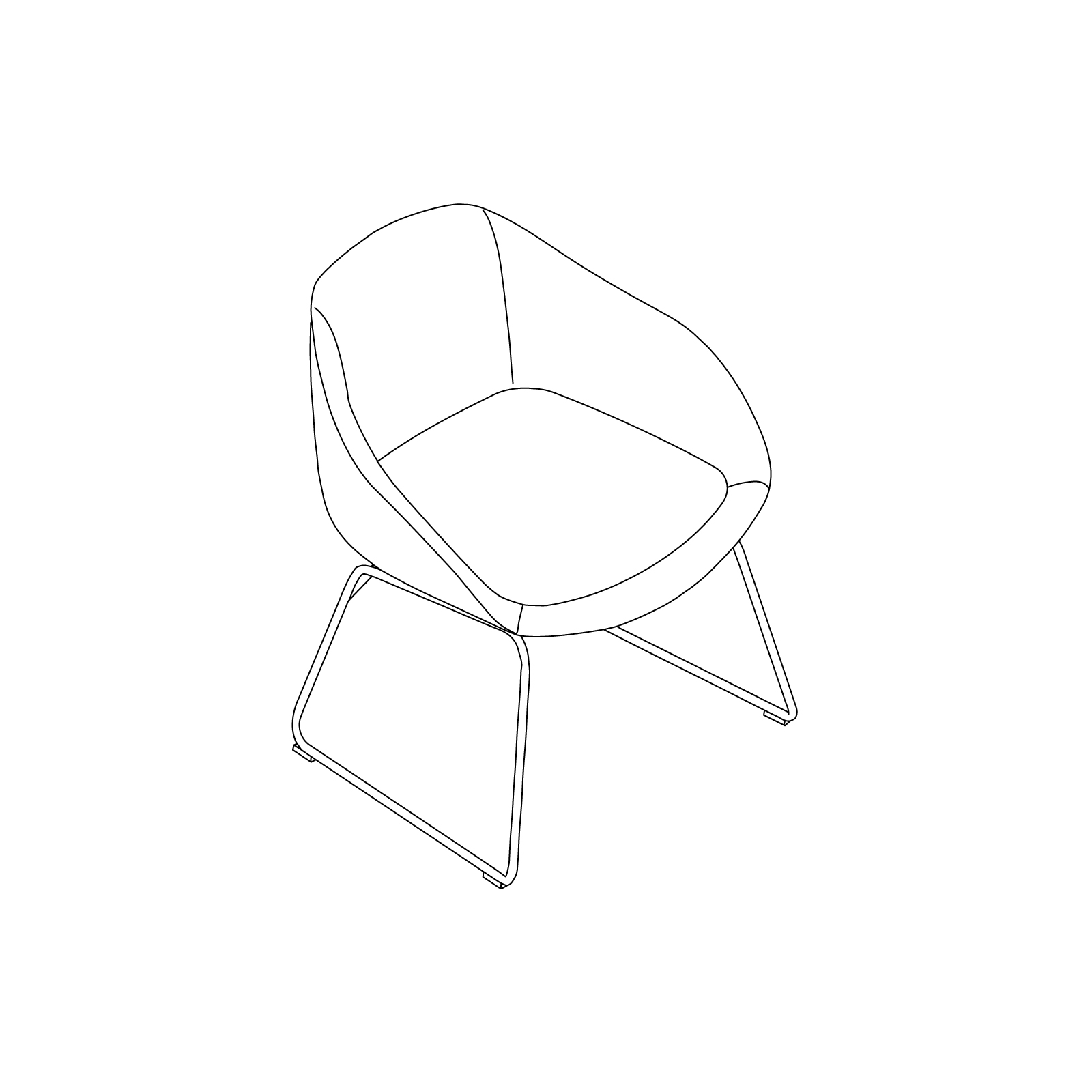 A line drawing of Always Side Chair–Sled Base.