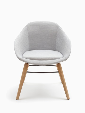 A naughtone Always Side Chair with textured gray upholstery and a wooden legs, viewed from the front.