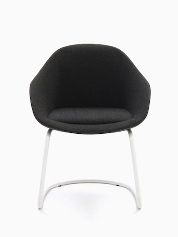 A naughtone Always Side Chair with black upholstery and a white cantilevered steel base, viewed from the front.