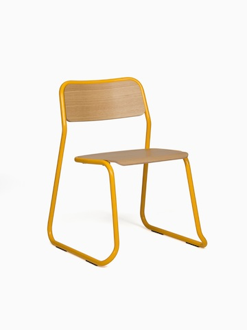 A yellow naughtone Bounce Chair, viewed at an angle.