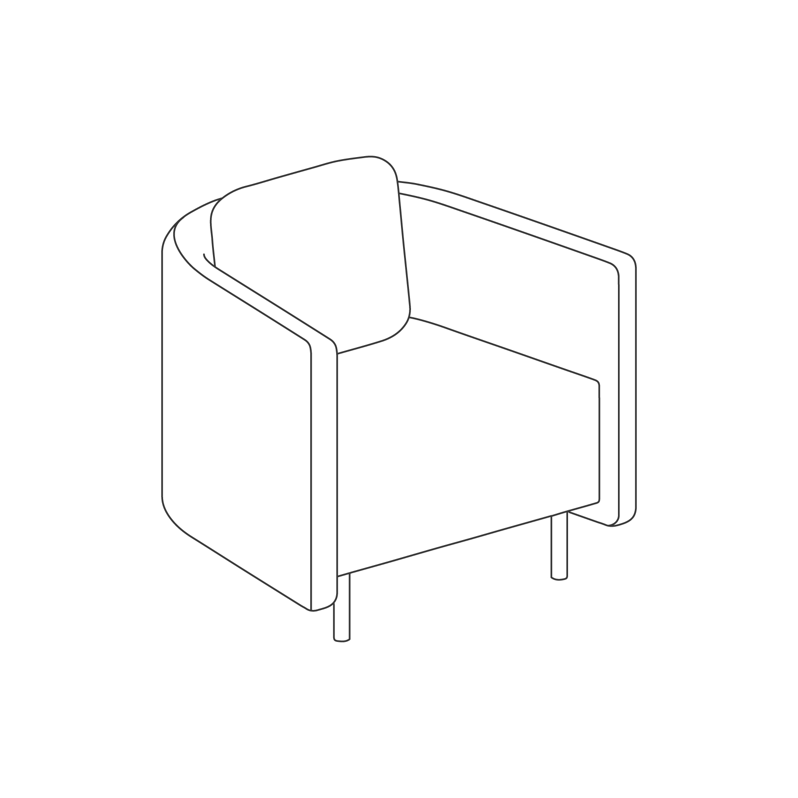 A line drawing of Cloud Plain Armchair.