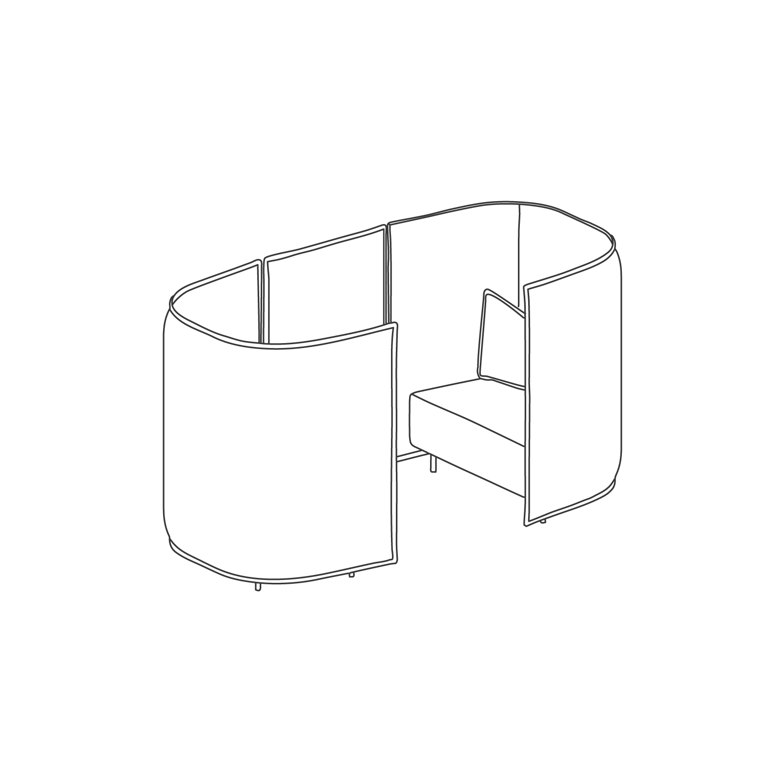 A line drawing of Cloud Plain Booth–1.5 Seat.