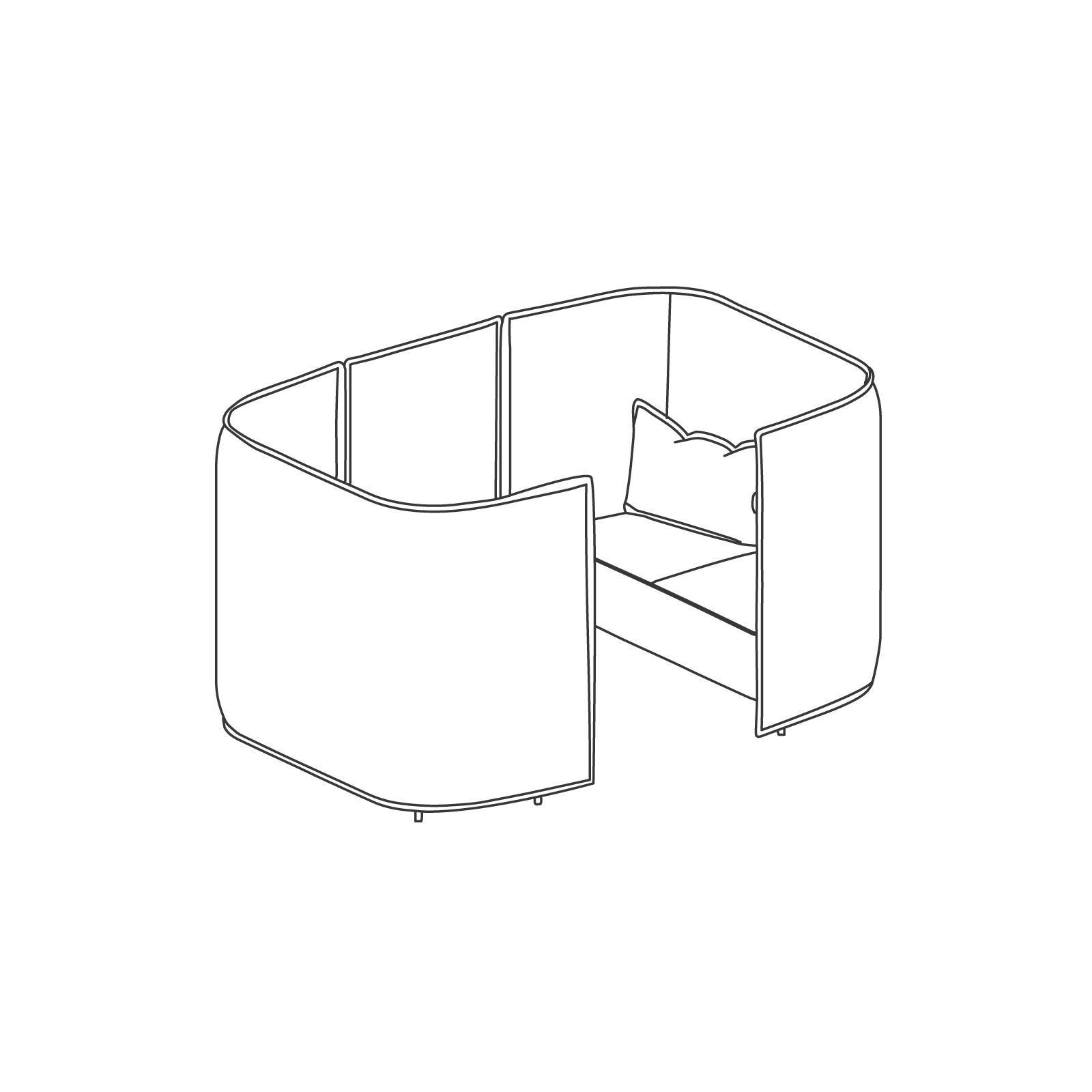A line drawing of Cloud Plain Booth–2 Seat.