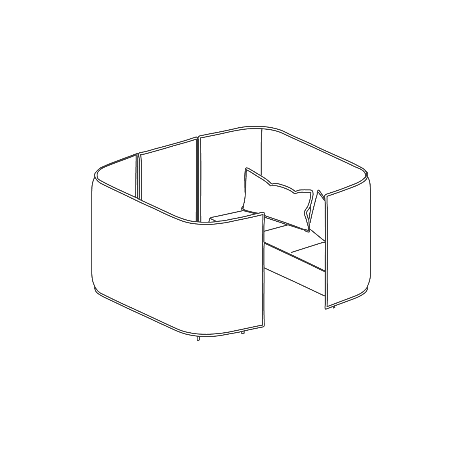 A line drawing of Cloud Plain Booth–3 Seat.