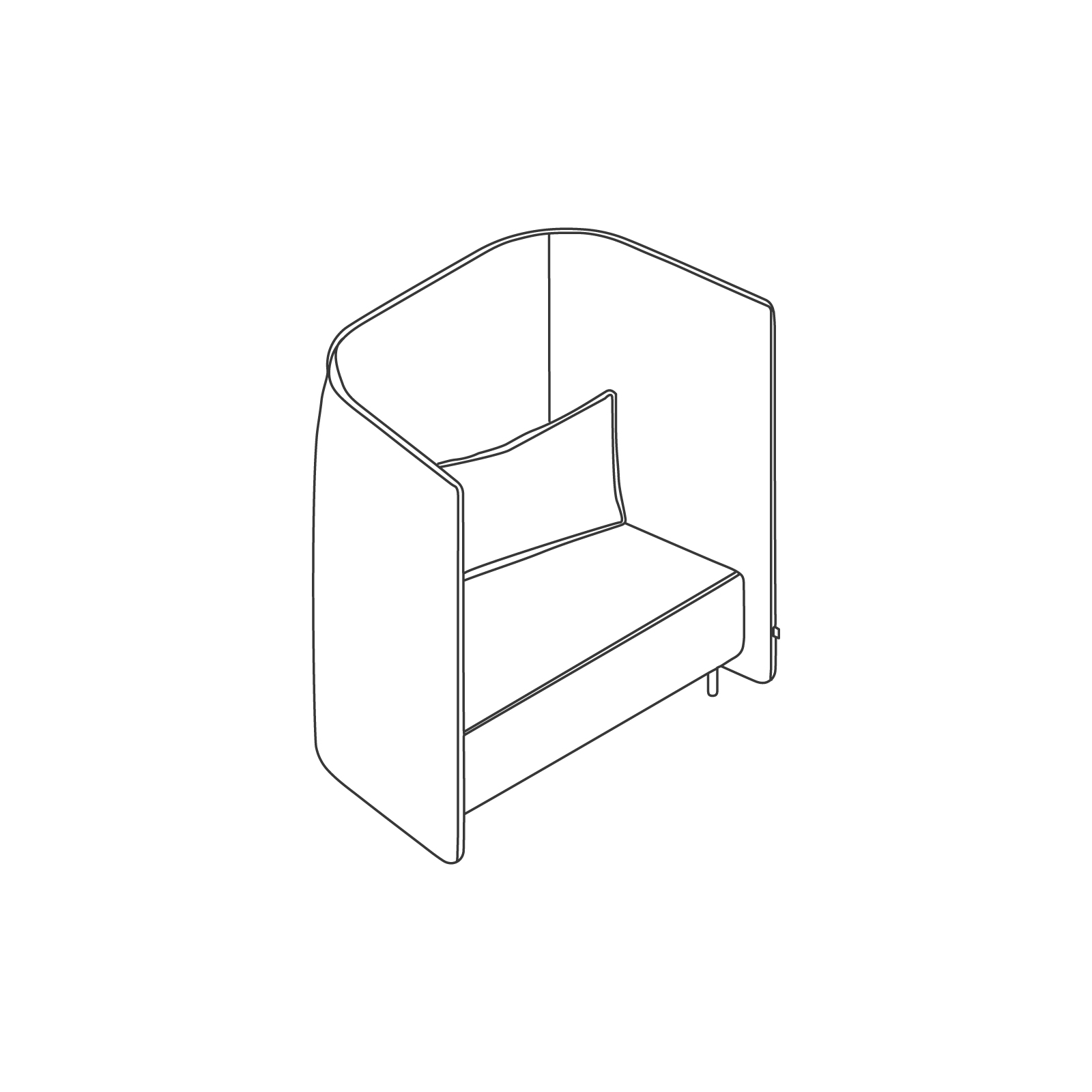 A line drawing of Cloud Plain Sofa–High Back–1.5 Seat.