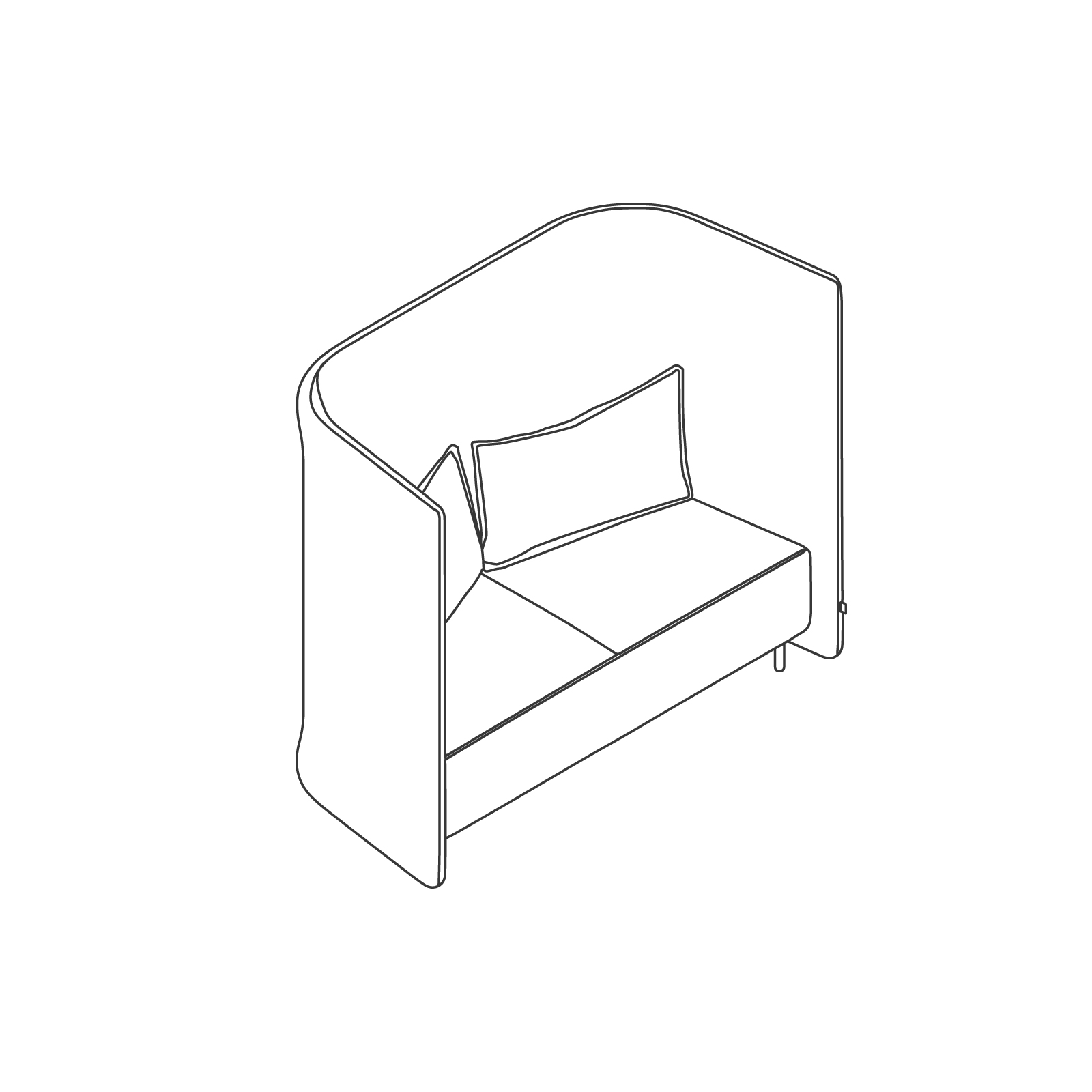 A line drawing of Cloud Plain Sofa–High Back–2 Seat.