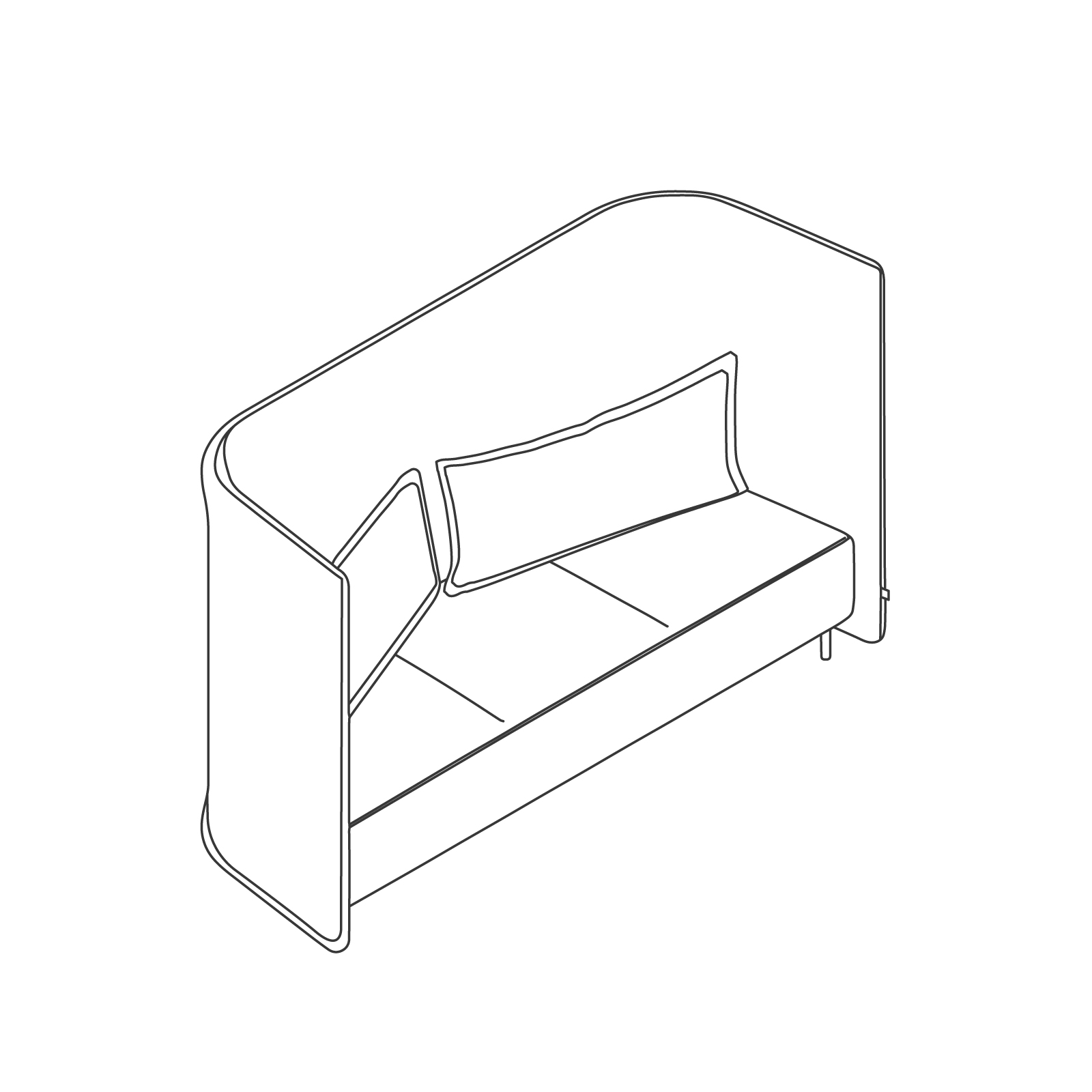 A line drawing of Cloud Plain Sofa–High Back–3 Seat.
