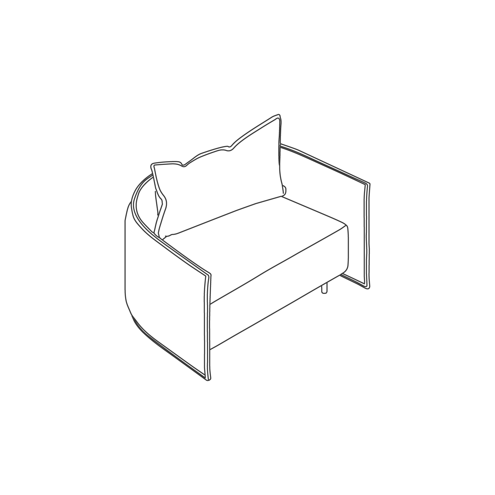 A line drawing of Cloud Plain Sofa–Low Back–1.5 Seat.