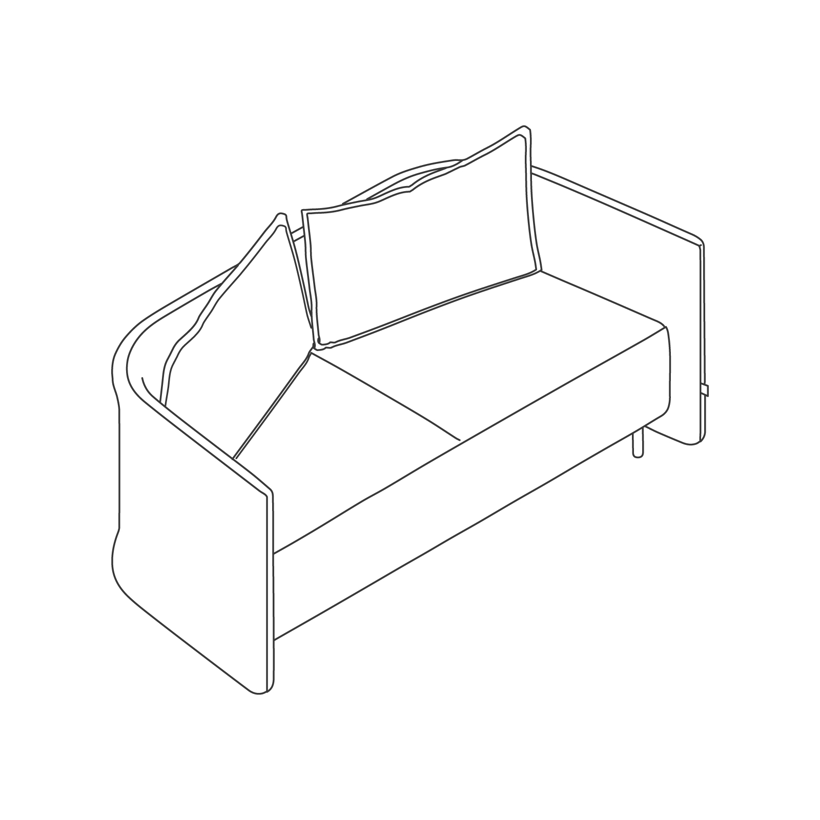 A line drawing of Cloud Plain Sofa–Low Back–2 Seat.