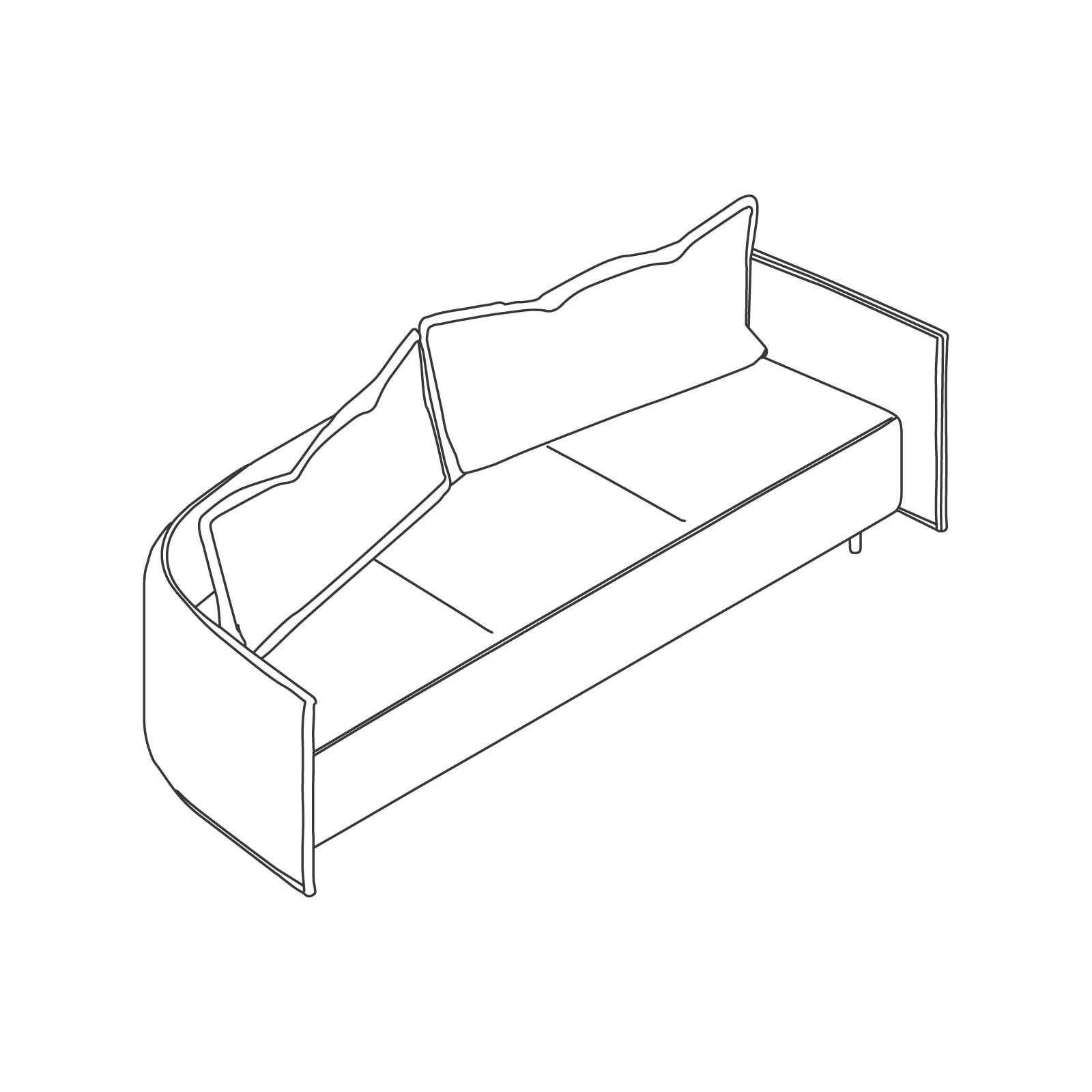 A line drawing of Cloud Plain Sofa–Low Back–3 Seat.
