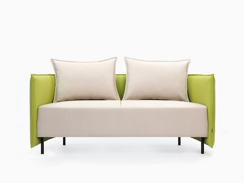 A front view of a naughtone Cloud Plain Sofa with cream seat and seatback upholstery and a chartreuse surround.