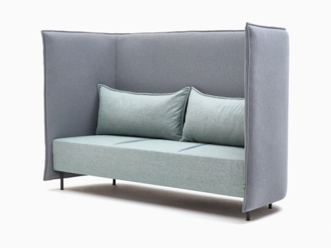 A three-seat naughtone Cloud Plain Sofa upholstered in light blue with a gray surround, viewed at an angle.