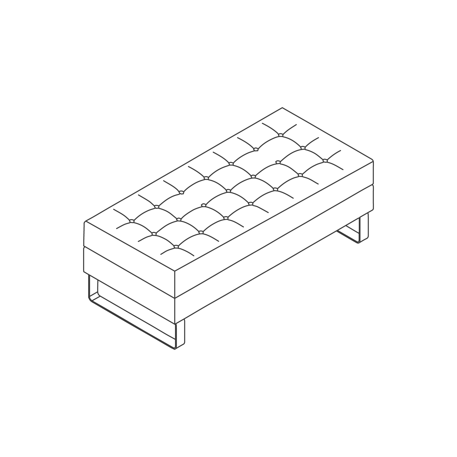 A line drawing of Clyde Bench–2 Seat.