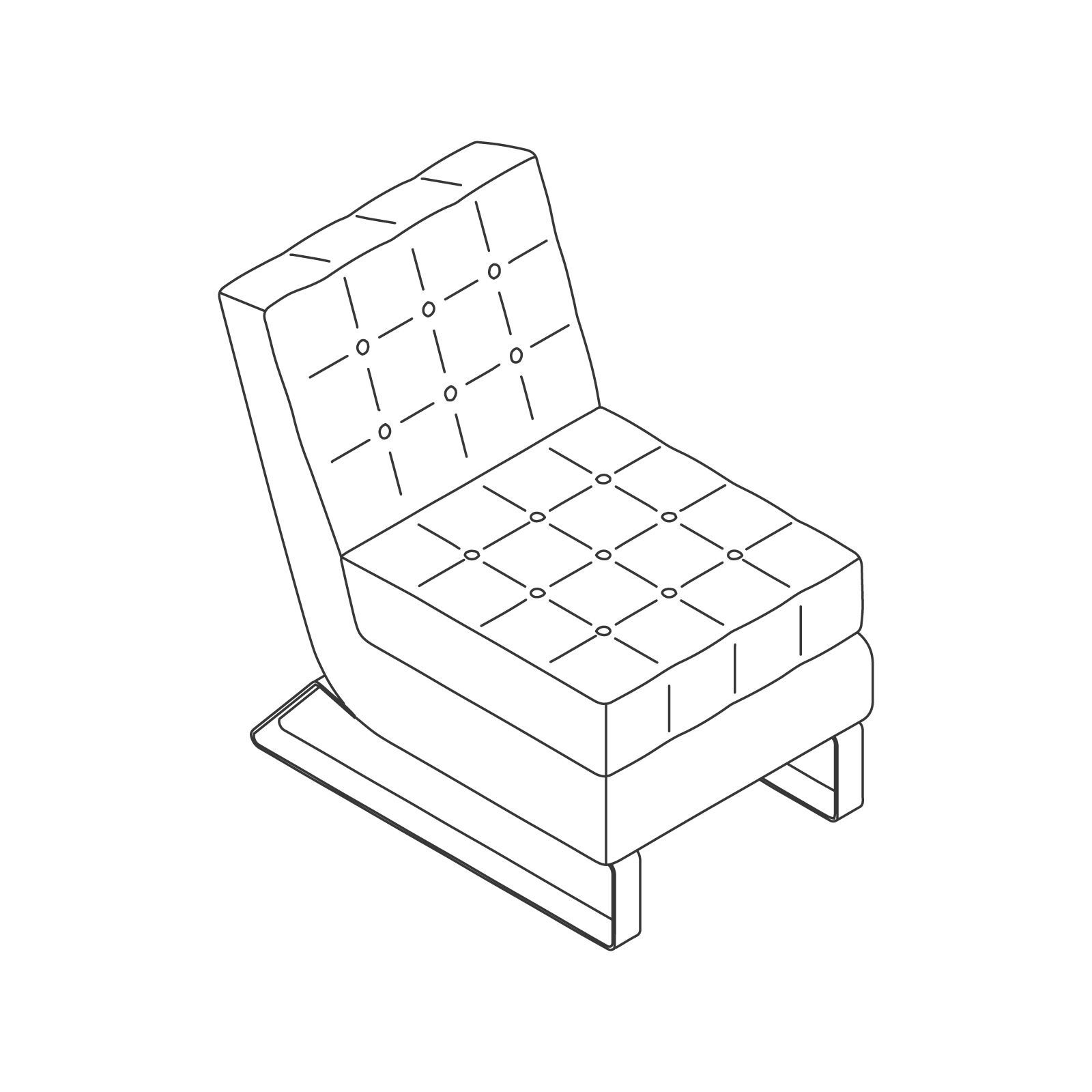 A line drawing of Clyde Club Chair–Armless.
