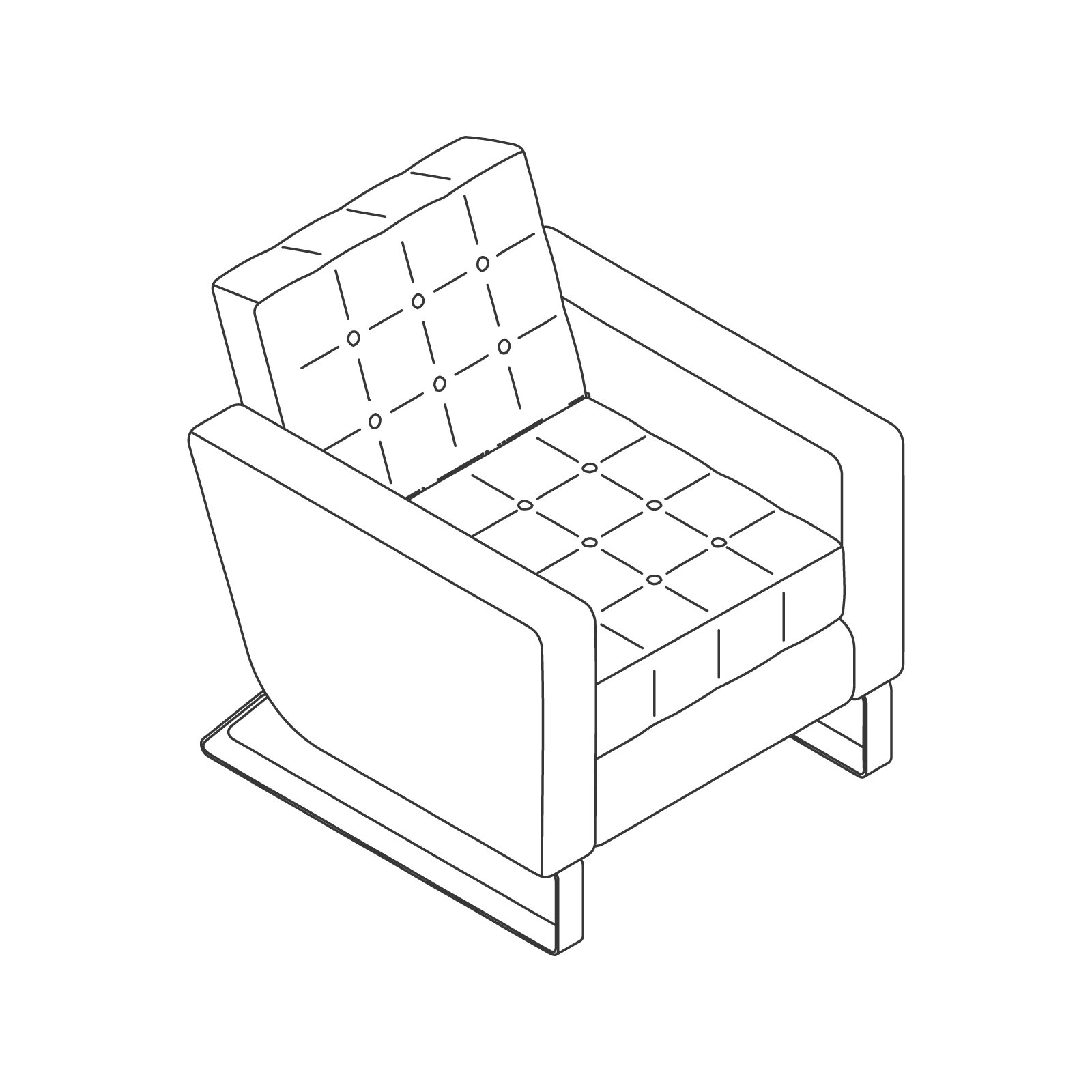 A line drawing of Clyde Club Chair–With Arms.