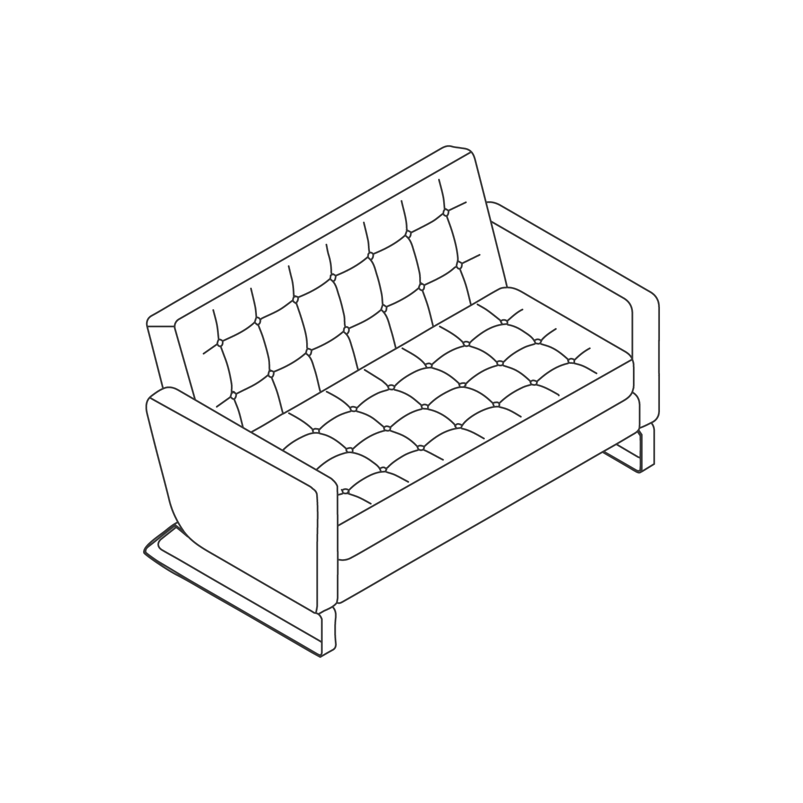 A line drawing of Clyde Sofa–2 Seat.