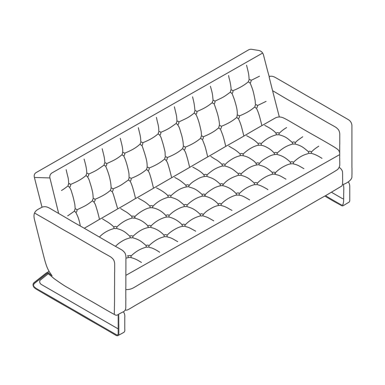 A line drawing of Clyde Sofa–3 Seat.
