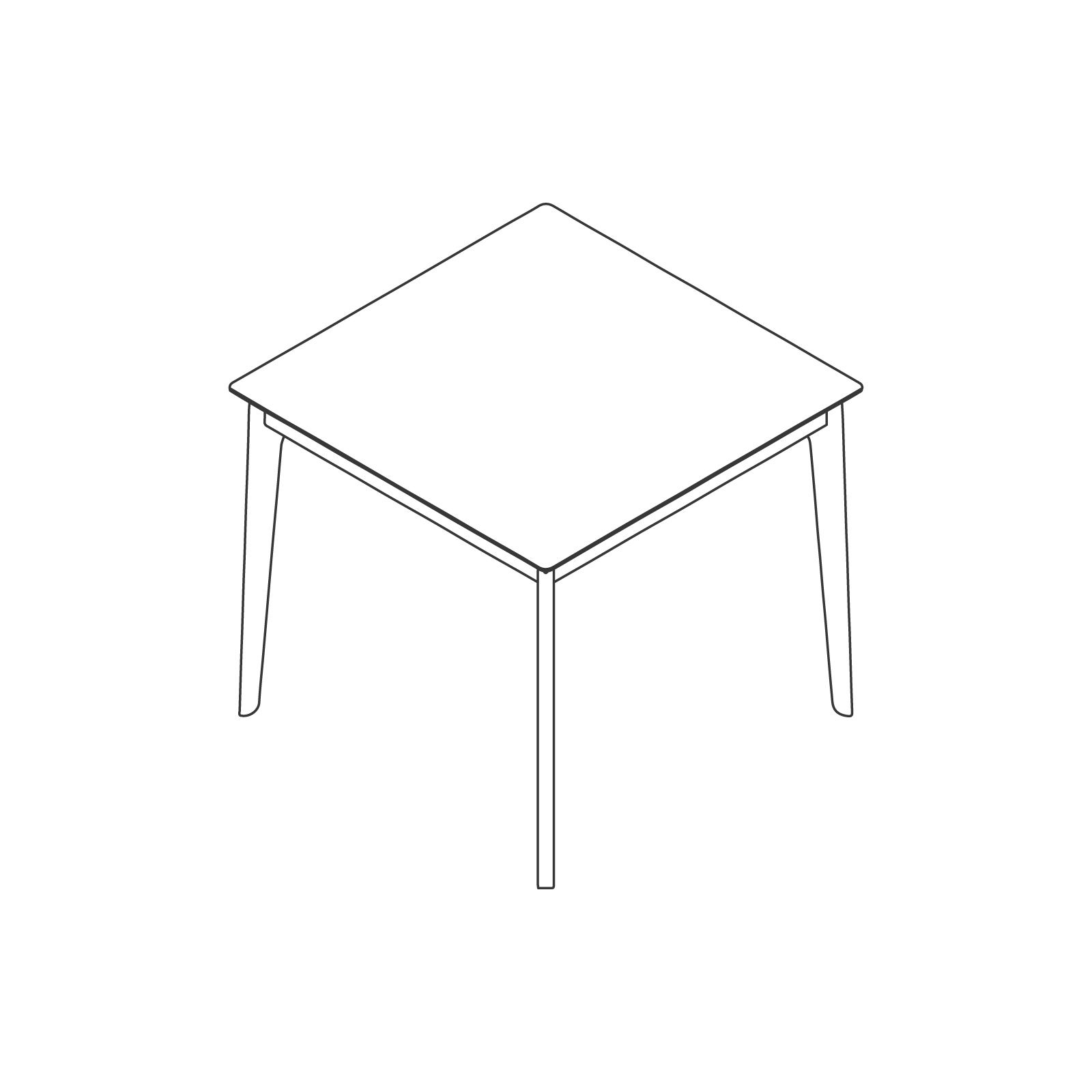 A line drawing of Dalby Café Table–Square.