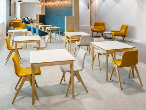 A bright café or cafeteria space full of white naughtone Dalby Café Tables arranged with cream and gold Viv Wood Chairs and blue Always Side Chairs.