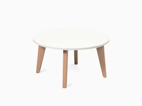 A round white Dalby Coffee Table with an edge banded MFMDF top, viewed at an angle.