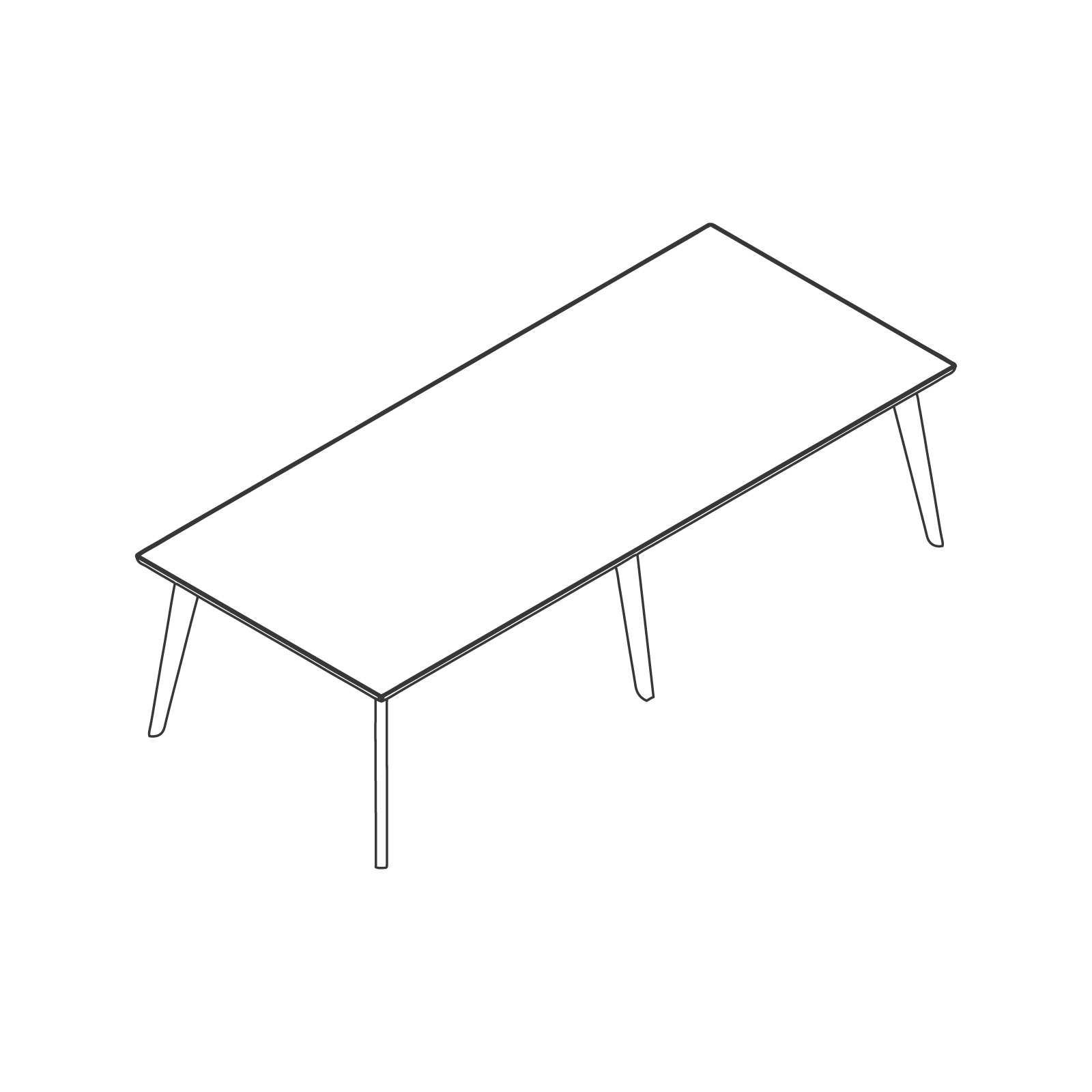 A line drawing of Dalby Conference Table–Rectangular–6 Leg.