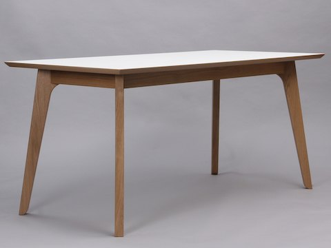 An angled view of a white Dalby Conference Table.