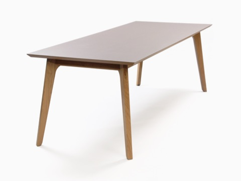 An angled view of a taupe naughtone Dalby Conference Table.