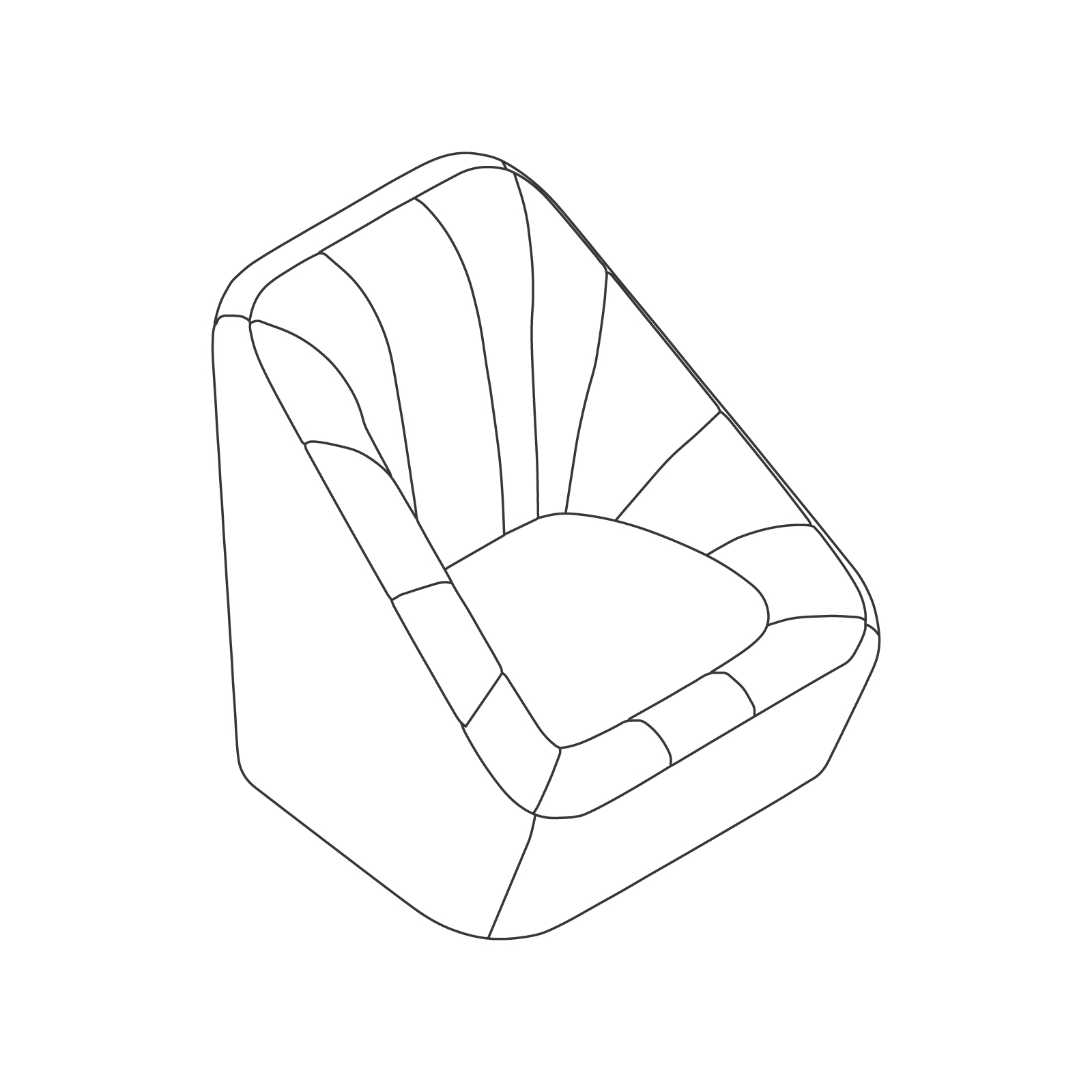 A line drawing of Fiji Chair–Swivel Base.
