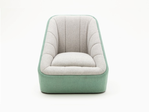 A naughtone Fiji Chair with two-tone upholstery in light green and cream, viewed from the front.
