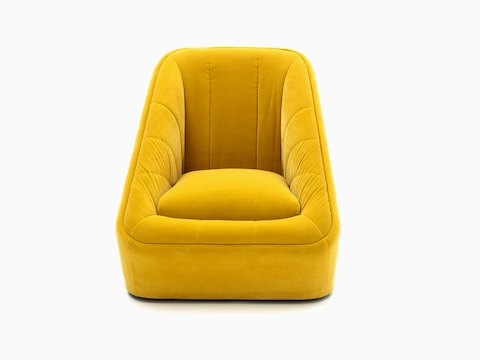 A bright yellow velvet naughtone Fiji Chair, viewed from the front.