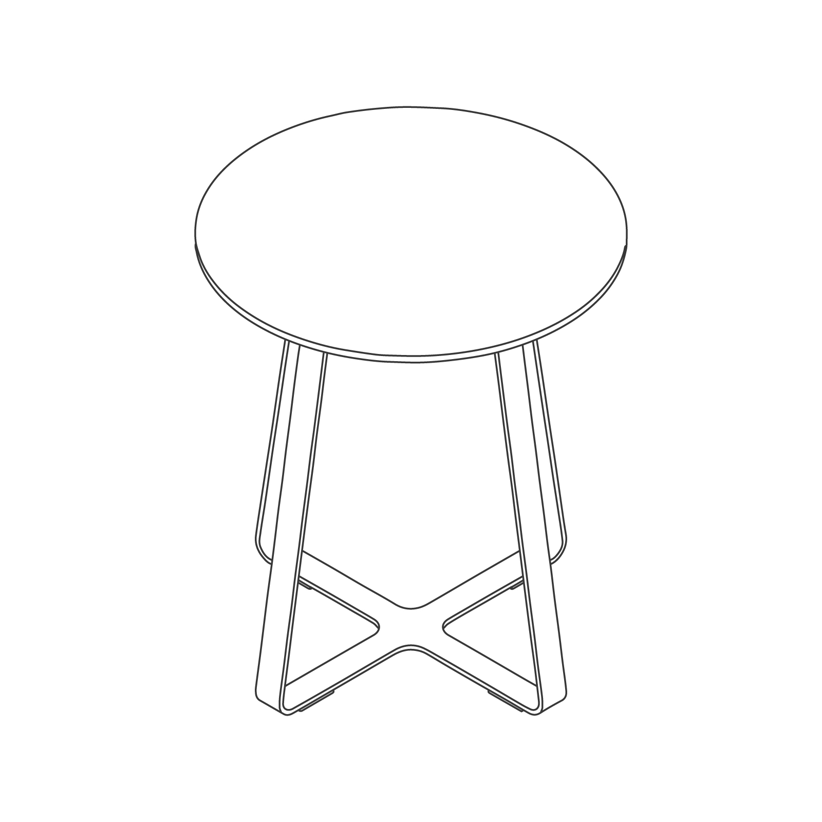 A line drawing of Frog Café Table–Round.