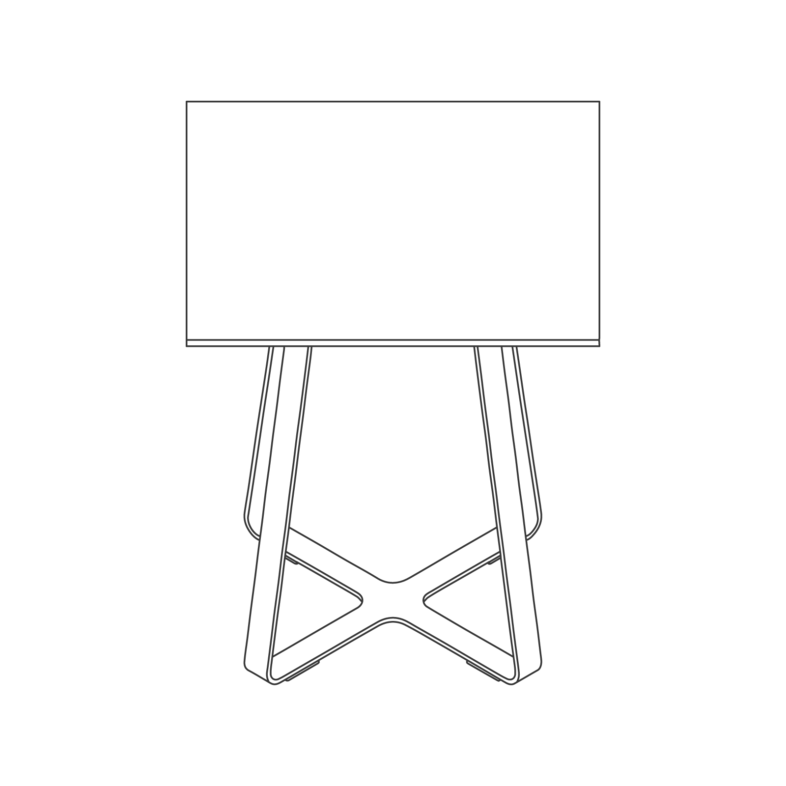 A line drawing of Frog Café Table–Square.