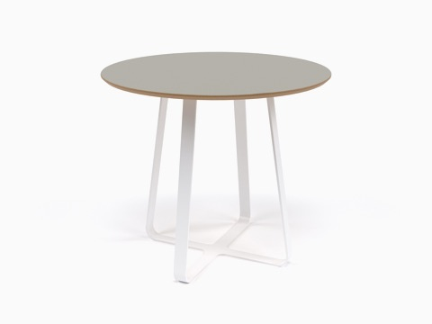 A round naughtone Frog Café Table with a gray top and white base, viewed at an angle.