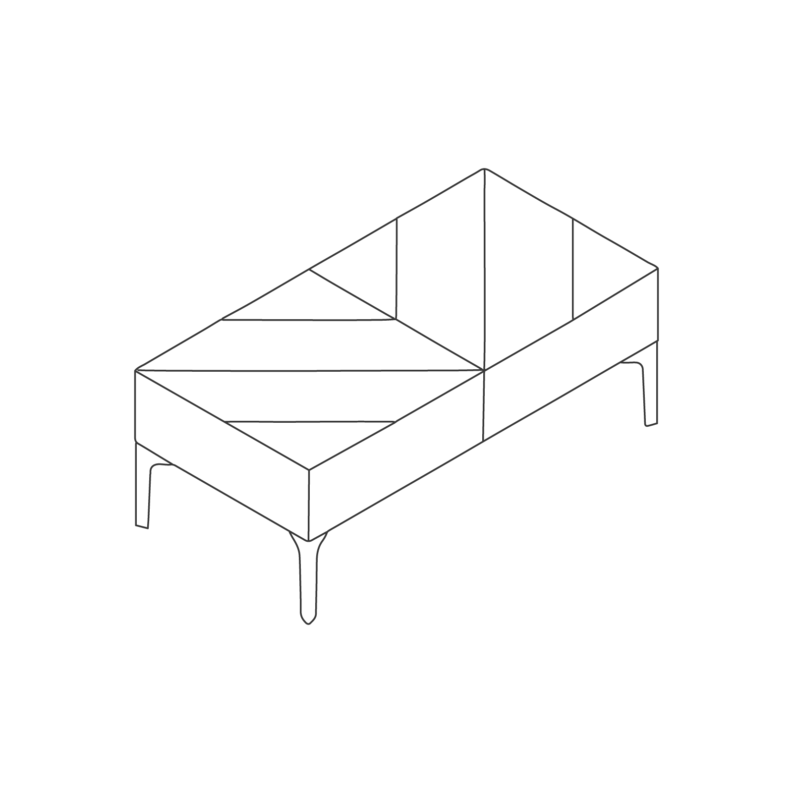 A line drawing of Hatch Bench–2 Seat.
