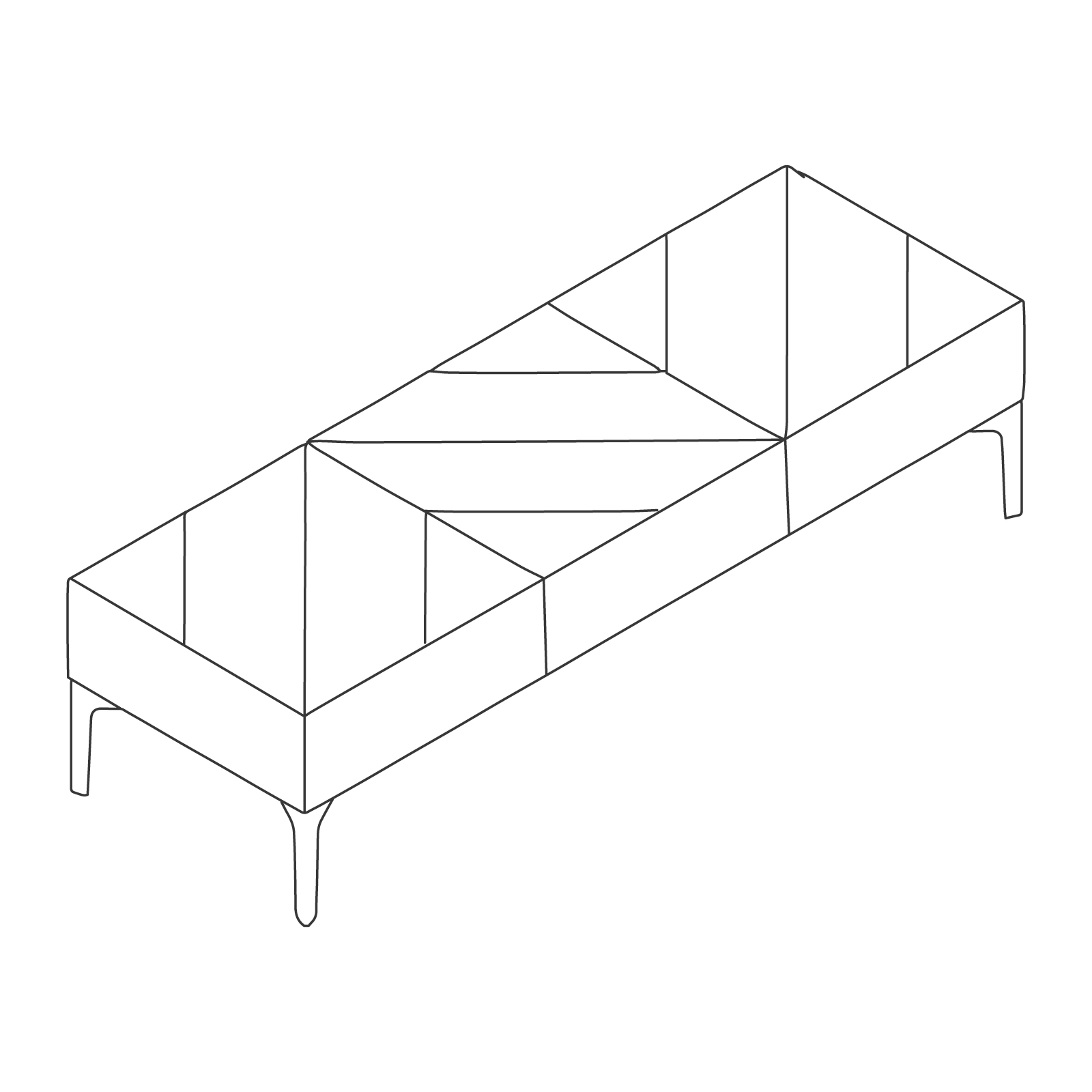 A line drawing of Hatch Bench–3 Seat.