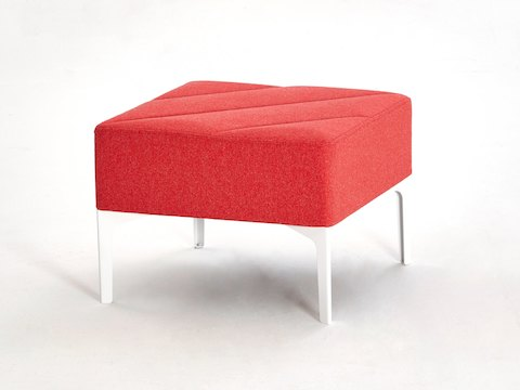 A red single seat Hatch Bench with white legs, viewed at an angle.