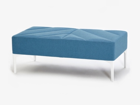 A light blue naughtone Hatch Bench with white legs, viewed at an angle.