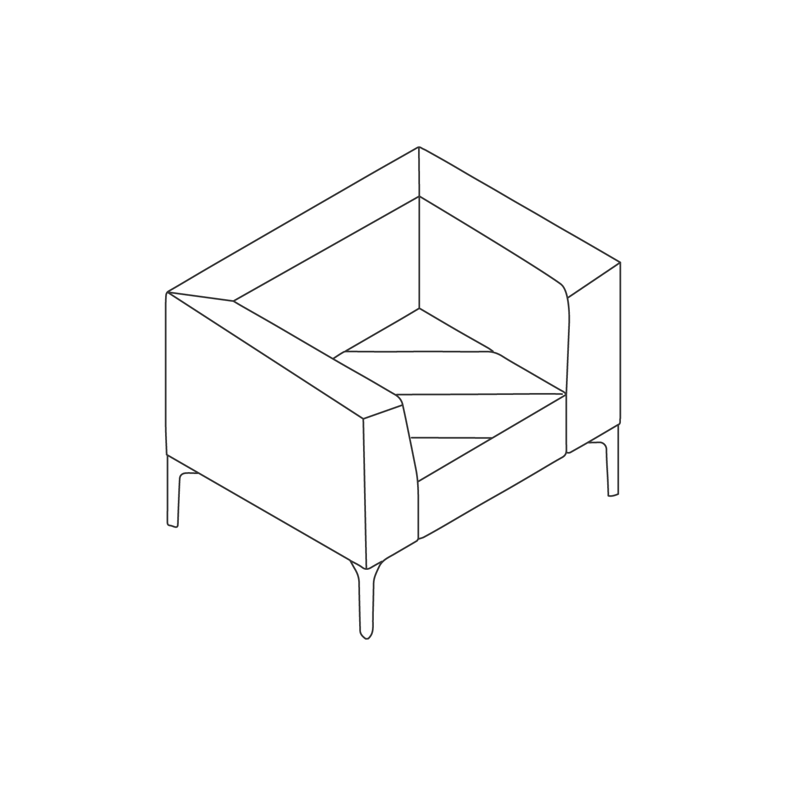 A line drawing of Hatch Lounge Chair.