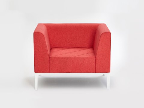 A red naughtone Hatch Lounge Chair, viewed from the front.
