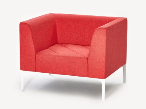 A red naughtone Hatch Lounge Chair, viewed at an angle.