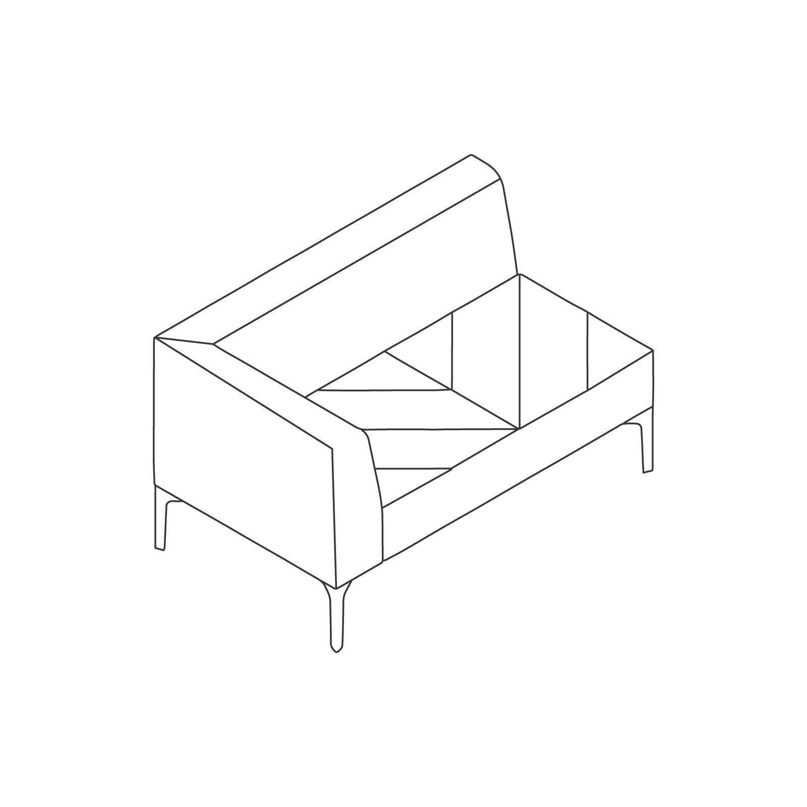 A line drawing of Hatch Modular Seating–Right Arm–2 Seat.