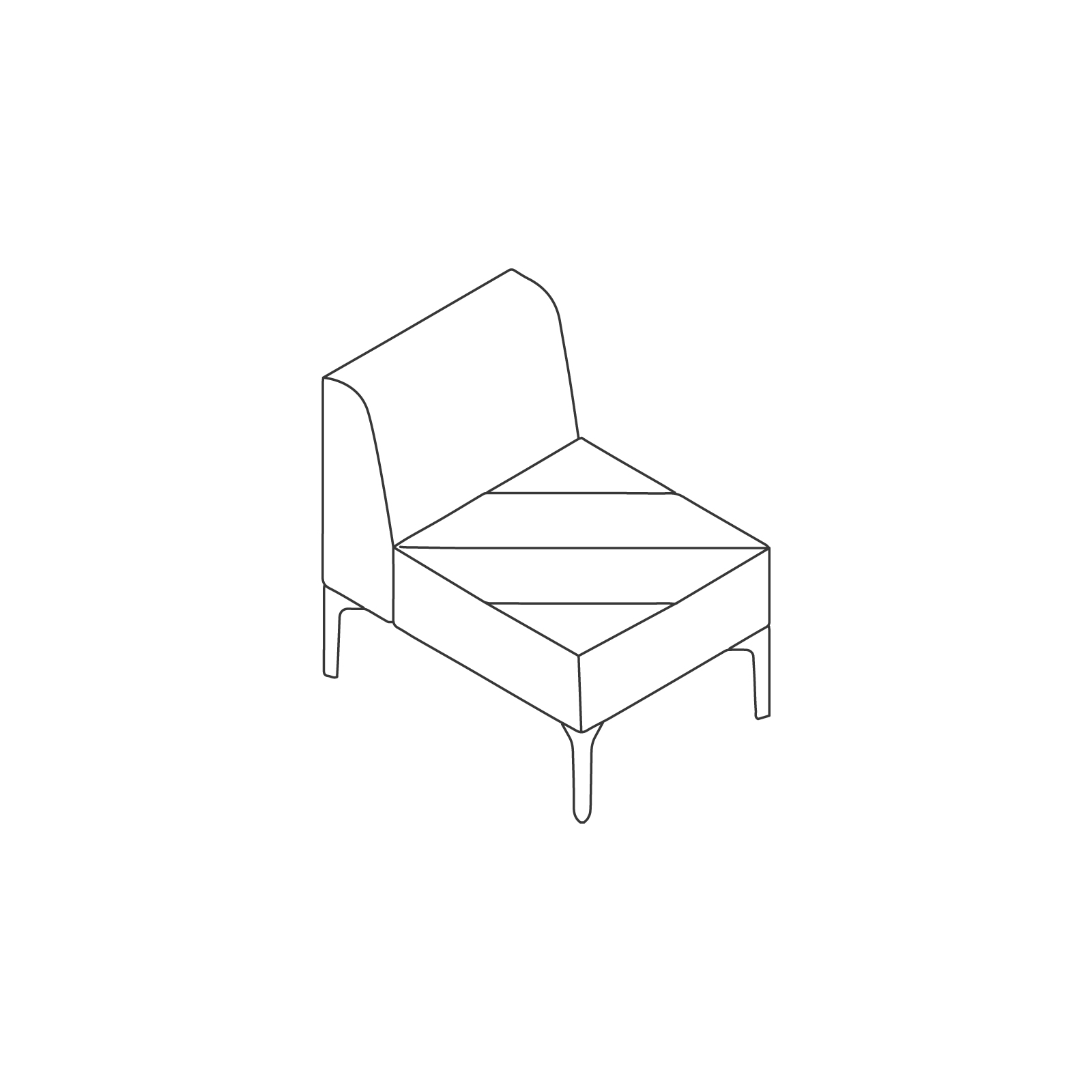 A line drawing of Hatch Modular Seating–Armless–1 Seat.