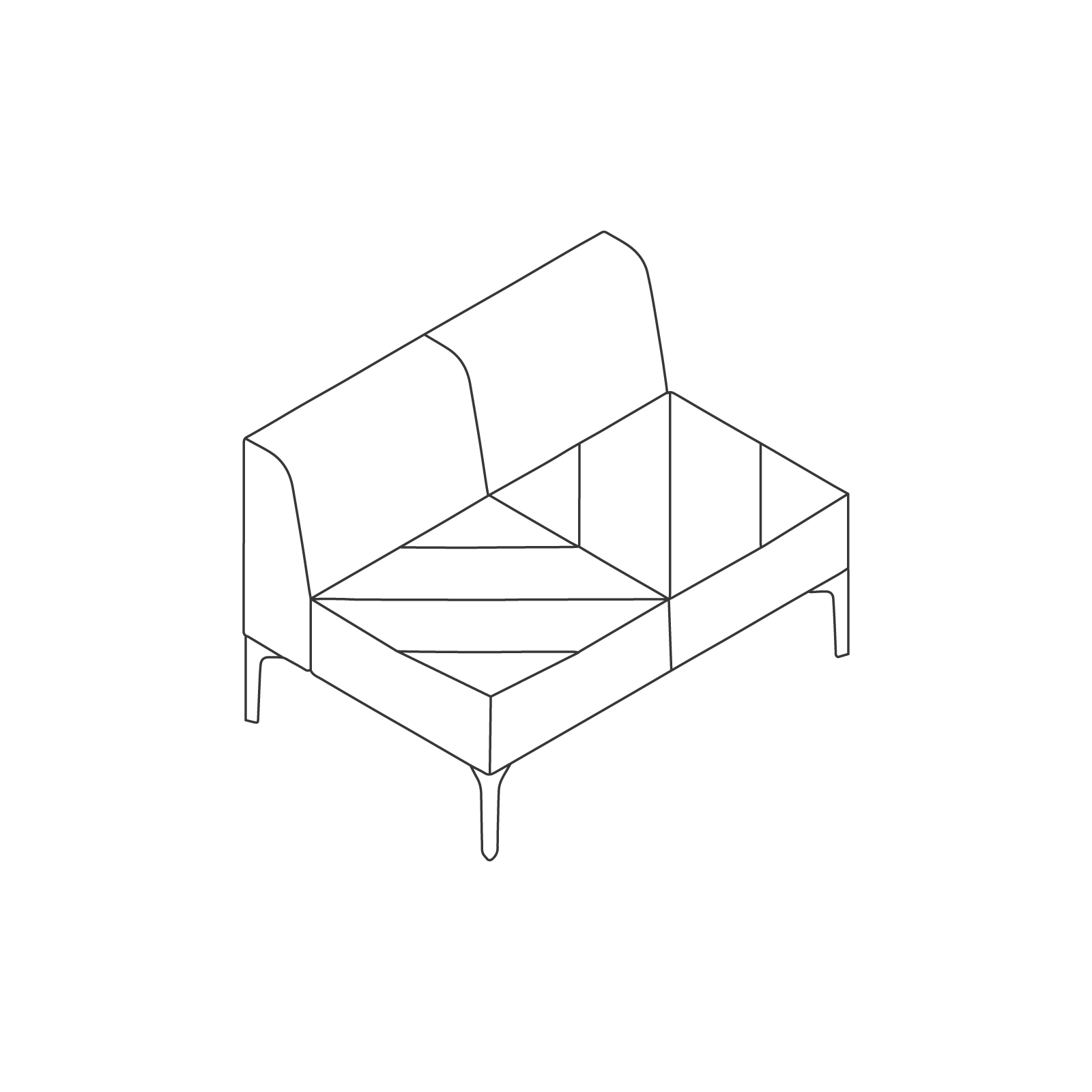 A line drawing of Hatch Modular Seating–Armless–2 Seat.